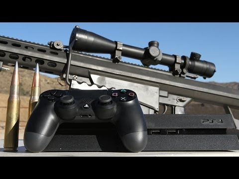 Sony PS4 vs .50 cal - Slow Mo Destruction at 50.000 FPS