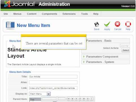 Joomla 1.5 - Add An Internal Menu Item