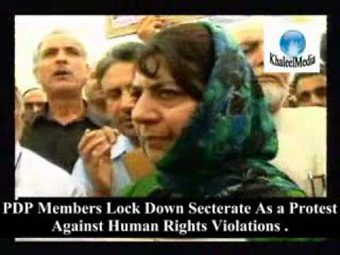 PDP leaders Lock down secterate in kashmir, Protest against Human Rights violations by Indian Forces