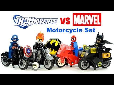 LEGO Marvel vs DC Motorcycle Pack KnockOff Set 2 Review w/ Batman & Ghost Rider