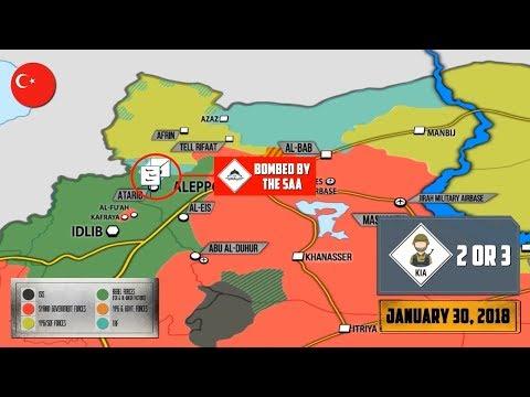31 января 2018. Военная обстановка в Сирии. Атака на турецкий конвой в провинции Алеппо.