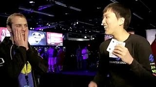 DoubleLift explains his name and does a magic card trick with SaintVicious ;]