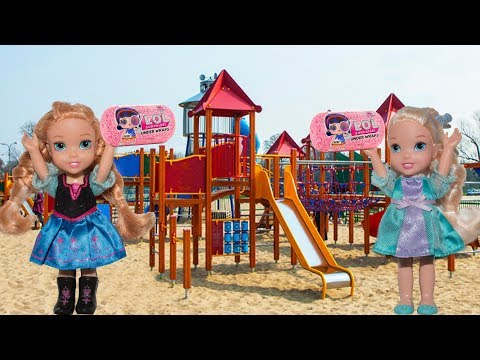 Elsa and Anna toddlers scavenger hunt on the beach