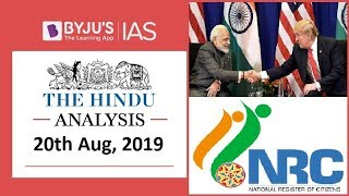 'The Hindu' Analysis for 20th August, 2019 (Current Affairs for UPSC/IAS)