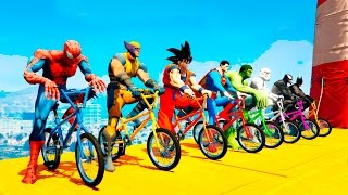 COLOR BMX Bikes EXTREME FUN Jump With SUPERHEROES Animation & Nursery Rhymes for Kids and Babies
