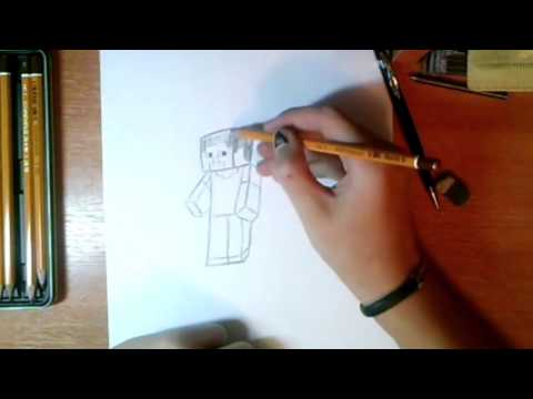 Видео как нарисовать человека из Майнкрафт