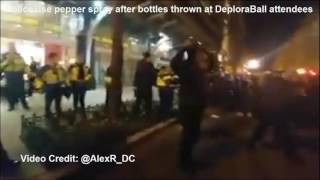 CHAOS!! Police use pepper spray after empty bottles thrown at DeploraBall attendees