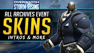 Overwatch All NEW Legendary Skins - Intros, Sprays and more! - Storm Rising 2019 Archives Event