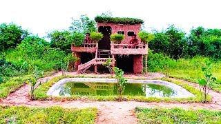 Build Beautiful Two Floors Mud House Villa ( Full Video)