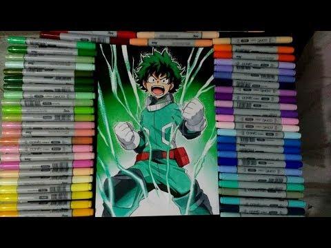 Speed Drawing Midoriya Izuku (Boku No Hero Academia) Desenhando Deku