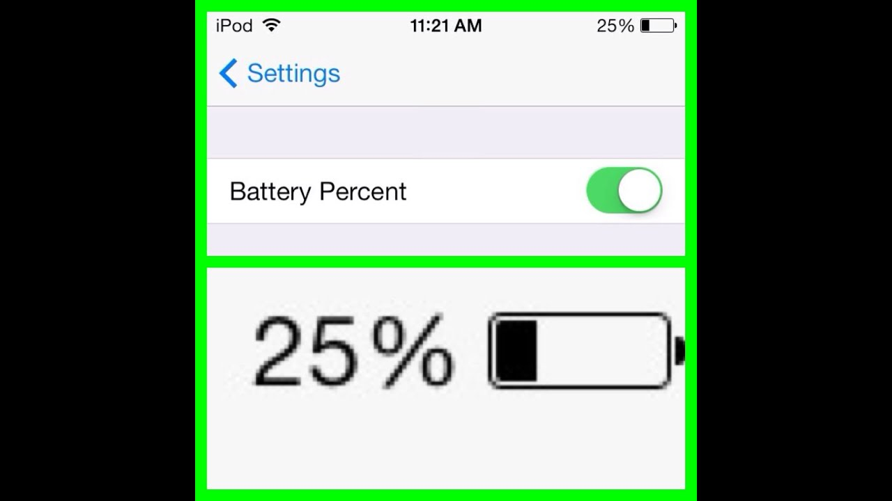 how to add battery percentage on ipod touch