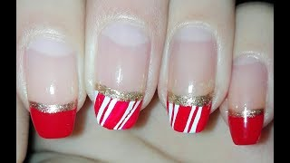 Candy Cane French  Manicure (Christmas Nail Art Tutorial) | Rose Pearl