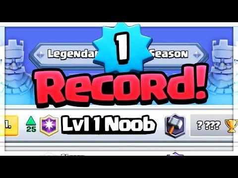 WORLD RECORD Level 1! Clash Royale INSANE Gameplay!