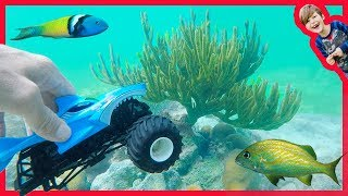 Monster Truck Explores the Ocean with REAL FISH!