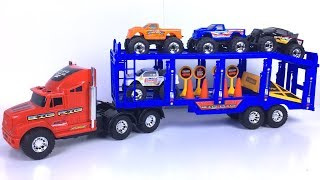 UNBOXING JH TOYS MONSTER TRUCK TRANSPORTER AND STORY WITH SEMI CABS HEAD TO VARIOUS TRANSPORTERS