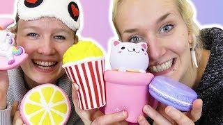 SQUISHY TOYS CHALLENGE Nina VS Kathi - Wer errät die slow rising Spielzeuge?