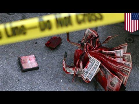 Houston Bank Robbery Fails When Exploding Dye Pack Destroys Money Stolen By Two Armed Gunmen video