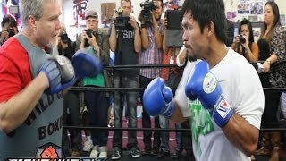Pacquiao vs  Bradley 2 : Pacquiao full media workout w/Freddie Roach