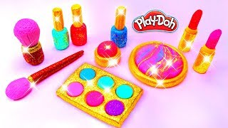 Play Doh Makeup Set How to Make Eyeshadow Lipstick 💄 Nail Polish 💅 with Play Doh Fun for Kids