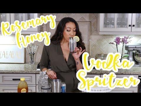 Liz Does Cocktails: CRAZY easy 4 step Rosemary + Honey Vodka Spritzer