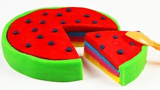 Play Doh Rainbow Watermelon Ice Cream DIY Video For Kids Kinetic Sand Learn Colors