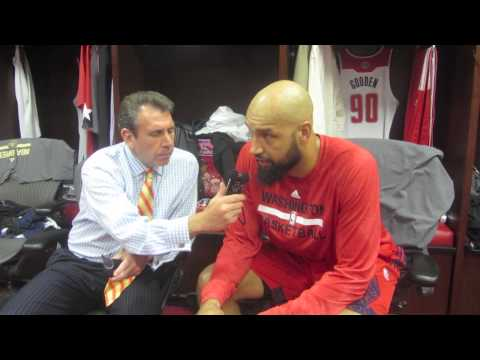 Drew Gooden is interviewed by Wizards' radio analyst, Glenn Consor before the Wizards and Bulls game