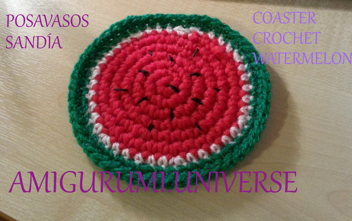 Tutorial posavasos sand a coaster crochet watermelon eng - Posavasos de ganchillo ...