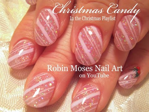 2 Nail Art Tutorials | DIY Easy Nail Art | Glitter Pink Candy Canes and Holly Design