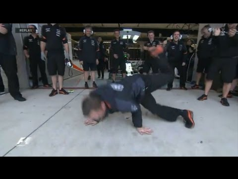 F1 Force India mechanic breakdance