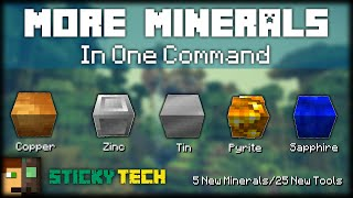 Minecraft - More Minerals | 25 NEW TOOLS, 5 NEW ORES [One Command] [StickyTech] [With Animation]