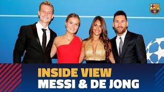 BEHIND THE SCENES Messi amp de Jong receive awards from UEFA
