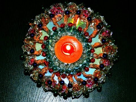 Recycled diy candle decoration with aluminium foil and for Art and craft diya decoration