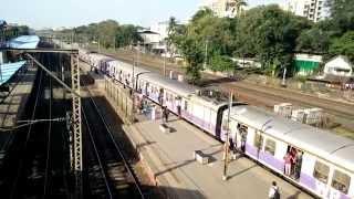 Mumbai Local Train Journey || View From Platform Station Bridge Mumbai India 2015