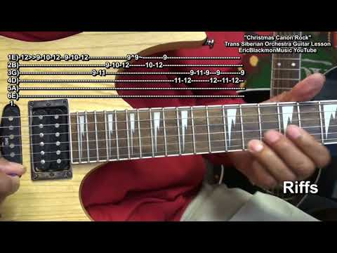How To Play CHRISTMAS CANON ROCK On Electric Guitar Trans Siberian Orchestra Riffs & Power Chords