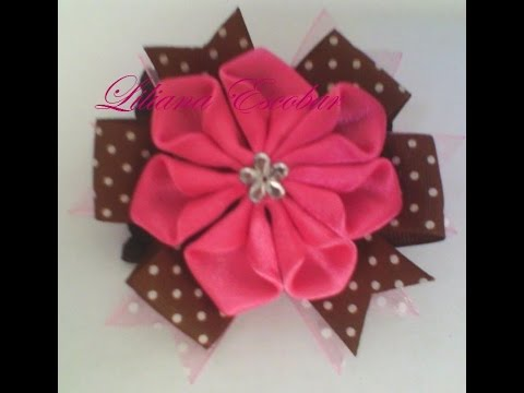 Flor en cinta raso (listón) para diadema, prendedor, hebilla - YouTube