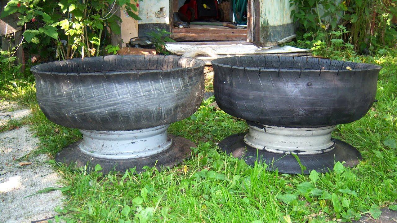 Поделки из шин : клумбы, вазоны, цветочники, садовые фигуры, мебель 72