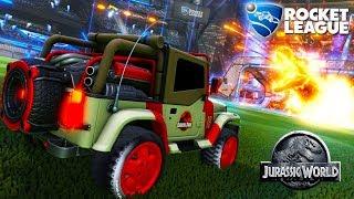 Rocket League - Carro da DLC Jurassic World com T. Rex