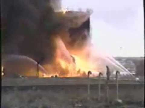 Denver, CO Firefighters fight tank farm fire at airport..wmv