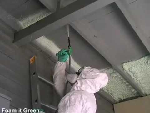 Spray Foam Insulation How To Spray Foam Overhead Youtube