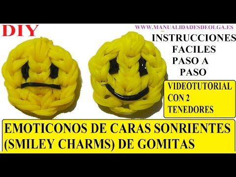 EMOTICONOS. COMO HACER UNA CARA SONRIENTE DE GOMITAS SMILEY CHARMS CON DOS TENEDORES. TUTORIAL DIY