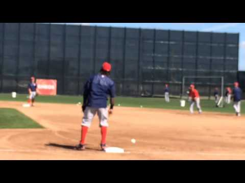 Hanley Ramirez takes infield practice at Boston Red Sox spring training 2016