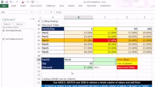 Highline Excel 2013 Class Video 21: INDEX and MATCH Functions For Unusual Lookups 4 Examples