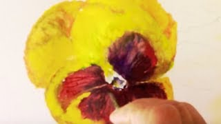 Yellow Pansy watercolor tutorial easy step by step lesson how to paint