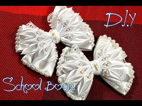 Школьные банты из лент/School Bows Kanzashi/New Petal/ D.I.Y/ Tutorial/ МК