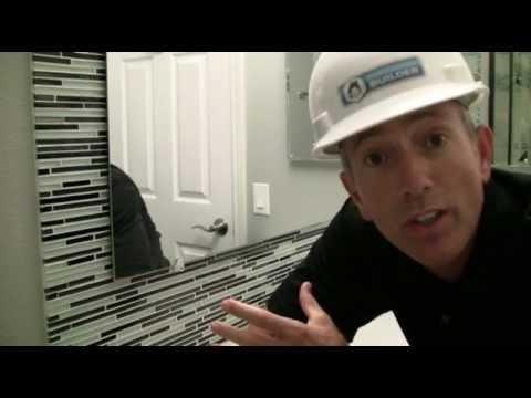 Glass tile mirror frame installation youtube - How do you frame a bathroom mirror ...
