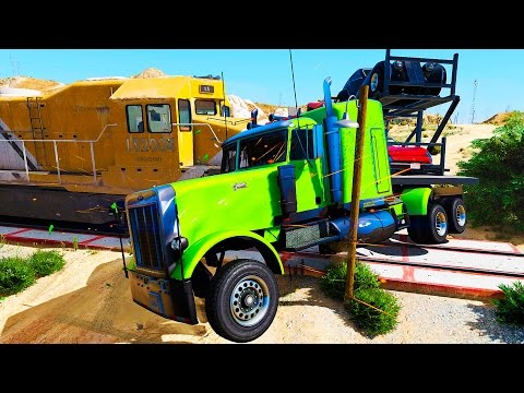 Trains in Trouble with COLORS TRUCKS - COLORS CARS &  Nursery Rhymes Songs