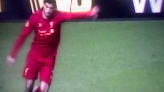 3rd Goal of Liverpool from F.K  By L.Suarez (Absolutly Stan-up )
