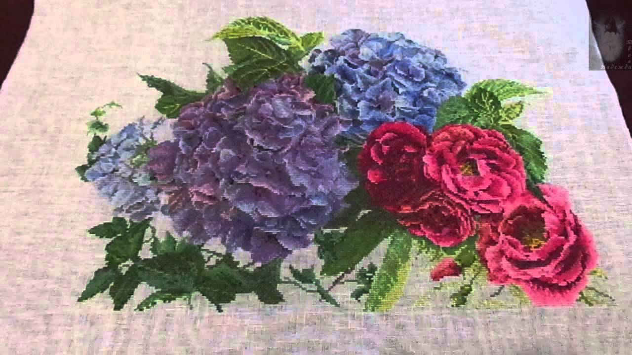 Вышивка гортензия и розы