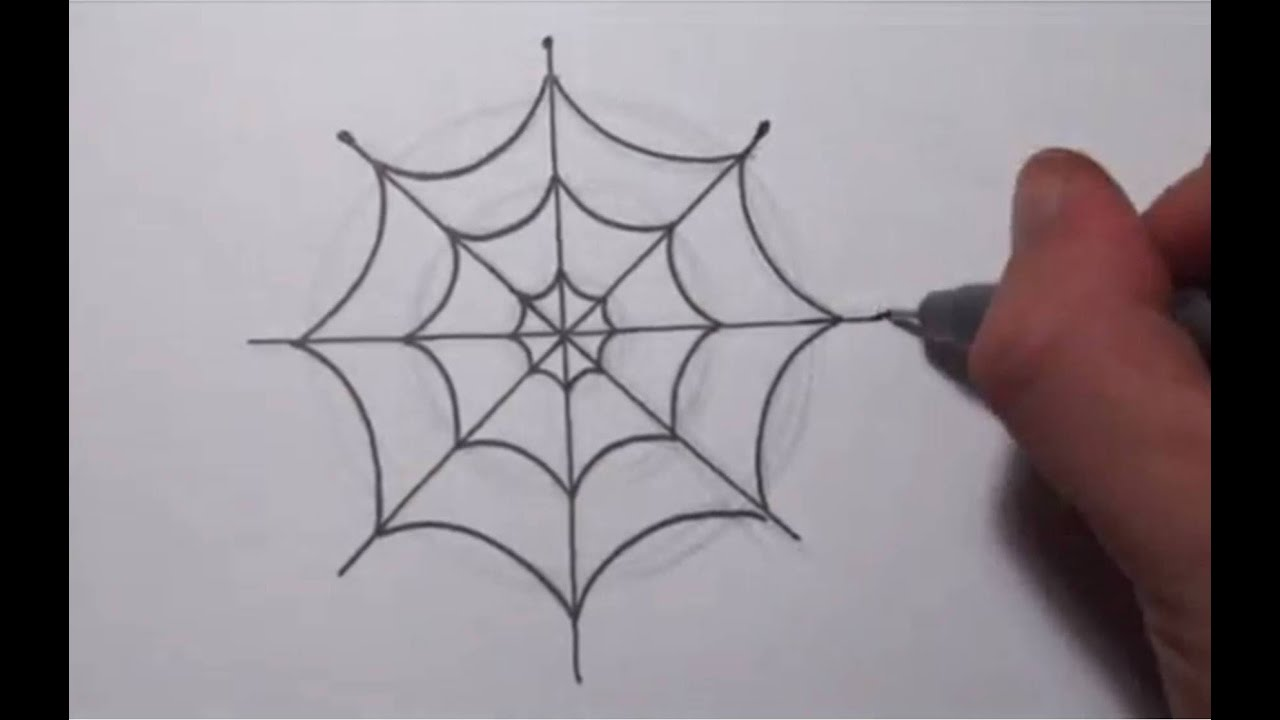 How to draw a simple spider web youtube for Easy drawing websites