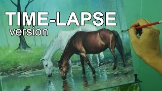 Time-lapse Acrylic Painting Demo - Horses in Misty Forest by JM Lisondra